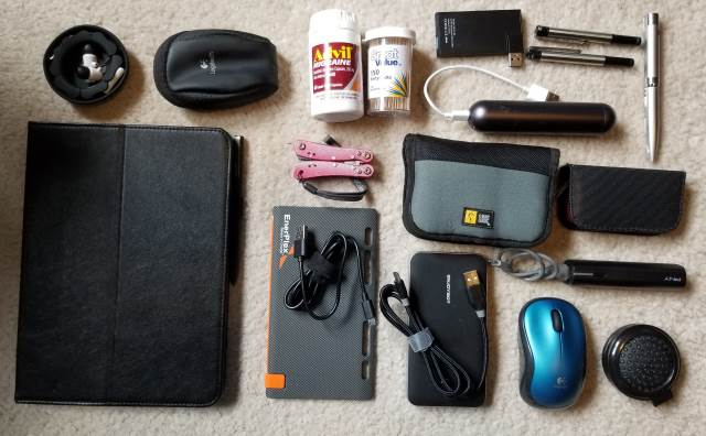 Snapshot of all of the gadgets I carry with me in my messenger bag