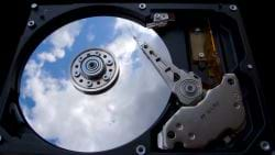 Hard Drive with an image of heaven on the platter