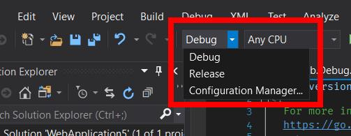 Screenshot fo Configuration Manager in Visual Studio