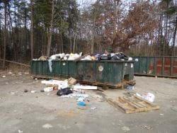 A garbage dumpster