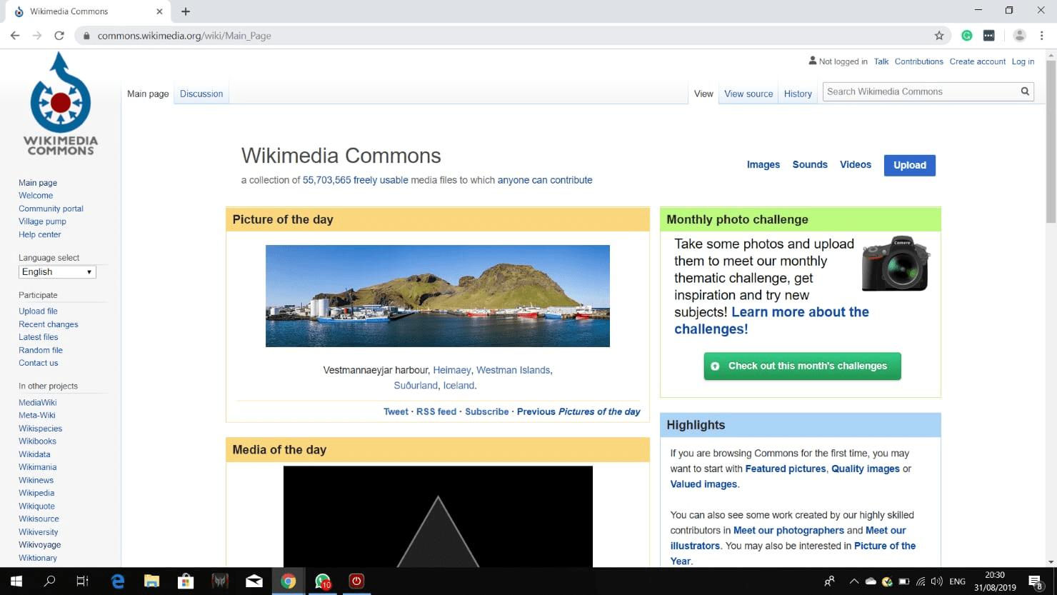 Screenshot of wikimedia commons as responsive