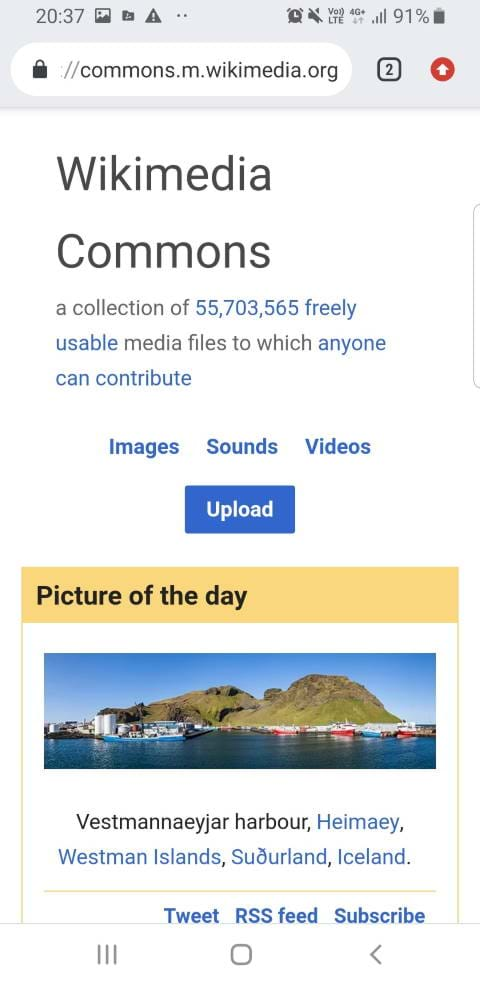 Screenshot of wikimedia commons on a smartphone